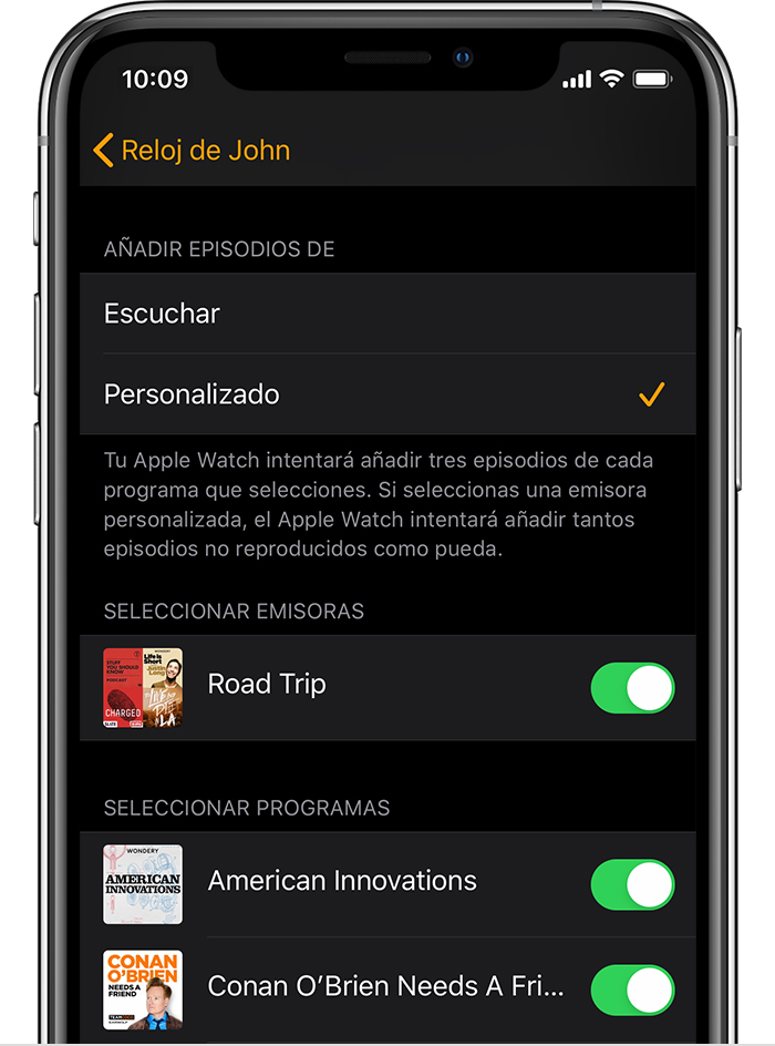 iPhone que muestra podcasts en la app Apple Watch.
