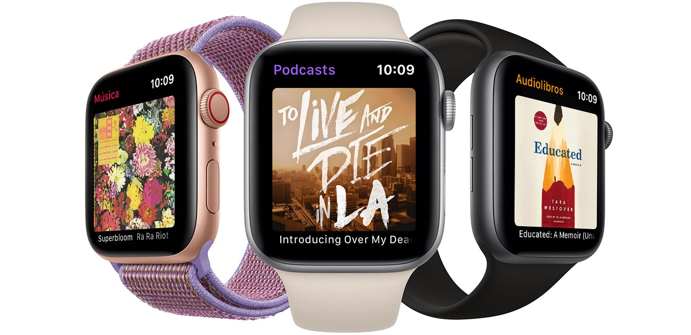 Un Apple Watch que reproduce música, un Apple Watch que reproduce un podcast y un Apple Watch que reproduce un audiolibro.