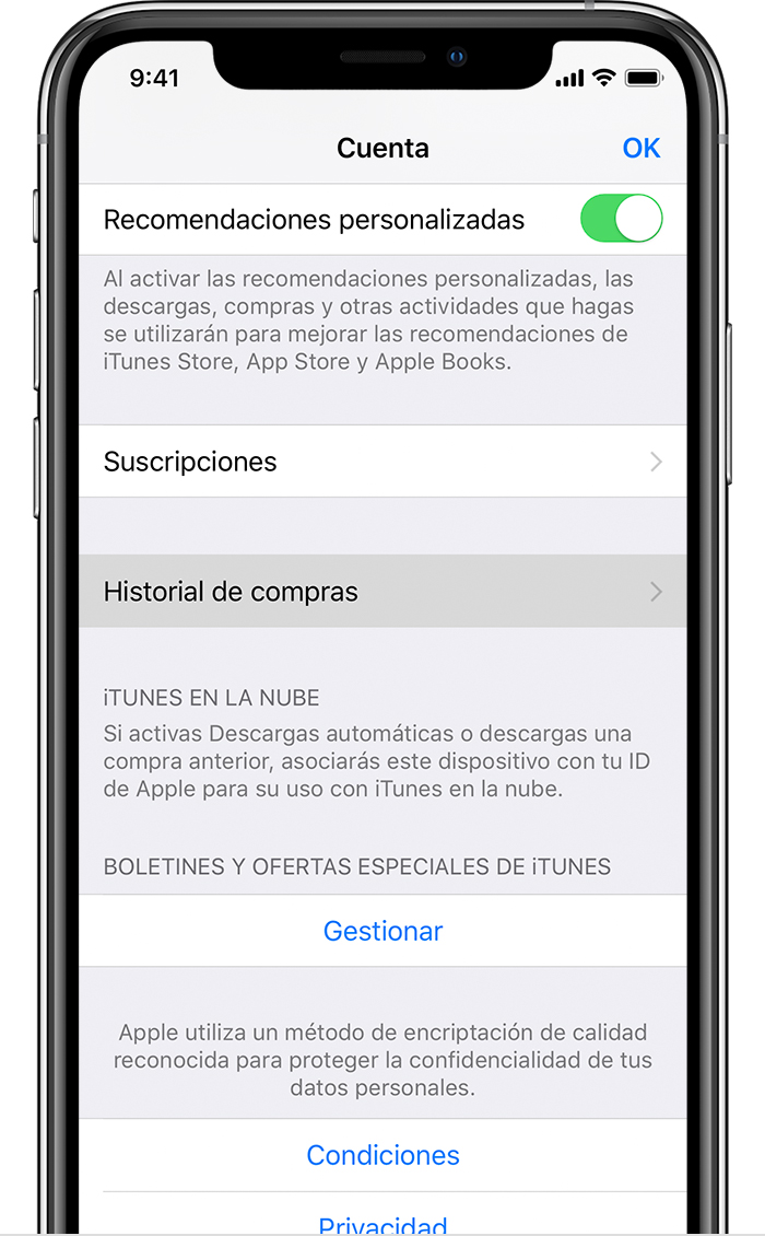 revisar compras iphone