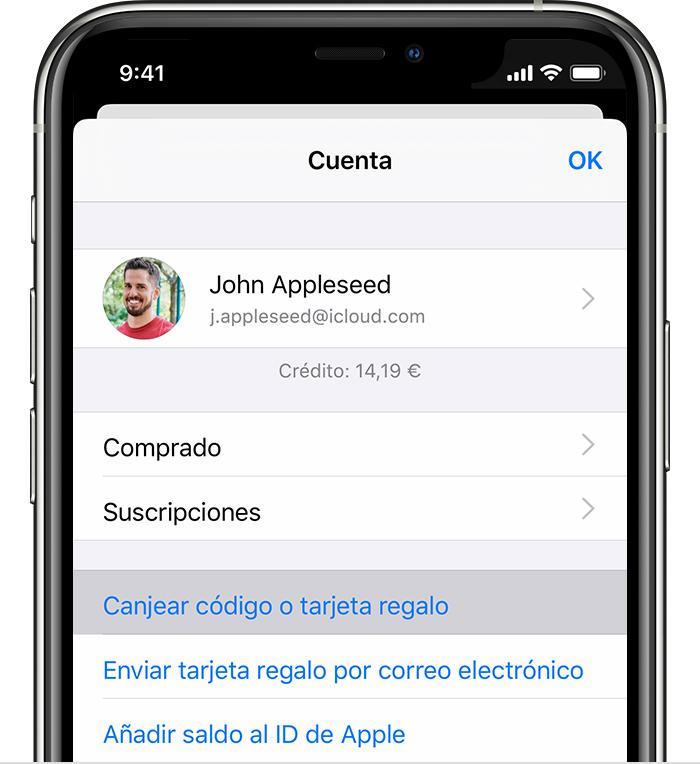 iPhone con la opción de menú Canjear código o tarjeta regalo.
