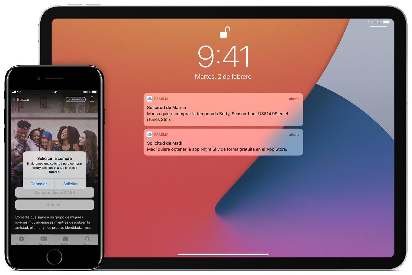 El iPad muestra las solicitudes de los menores, Madi y Marisa, mientras que el iPhone y el AppleWatch muestran lo que hay en los dispositivos de los menores.