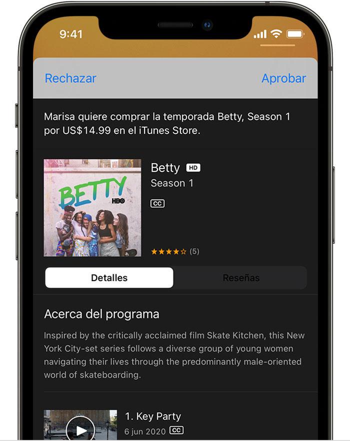 iPhone con una solicitud que el progenitor o tutor puede aprobar o rechazar.