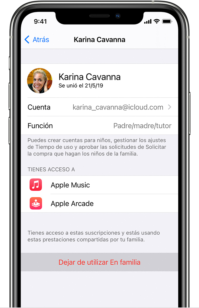 iPhone que muestra la opción Dejar de utilizar Enfamilia.