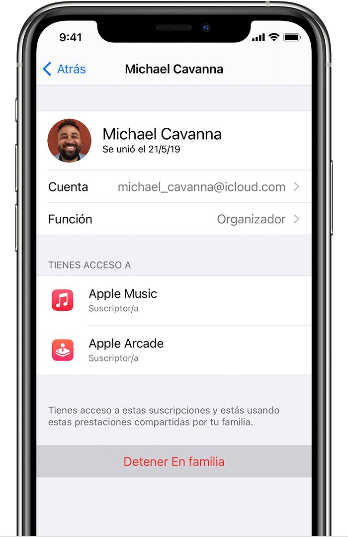 iPhone que muestra la opción Dejar de utilizar familia.