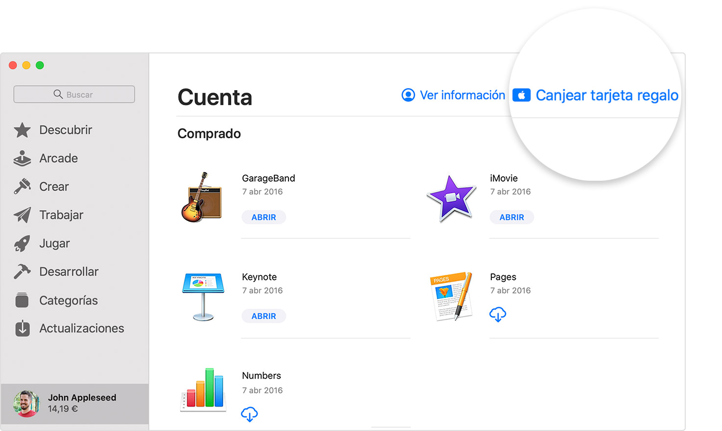 Mac que muestra el botón Canjear tarjeta regalo en la App Store.