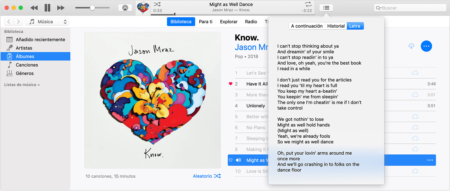 "Se abre una ventana de iTunes con el menú Letra de la canción ""Might As Well Dance"" de Jason Mraz."
