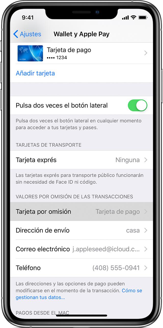 559af5f6a23 Ve a Ajustes > Wallet y Apple Pay en tu iPhone o iPad, y desplázate hacia  abajo hasta Valores por omisión de las transacciones. Pulsa Tarjeta  predeterminada ...
