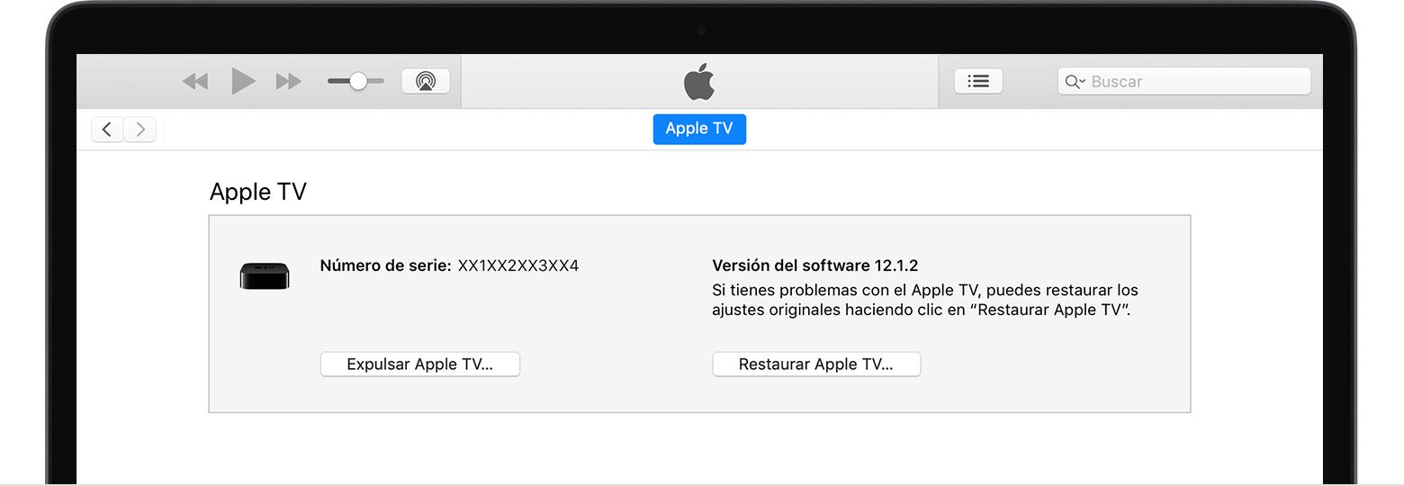 Restaurar el Apple TV utilizando iTunes - Soporte técnico de