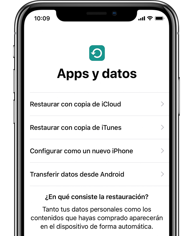 Opción Apps y datos en el iPhone X.