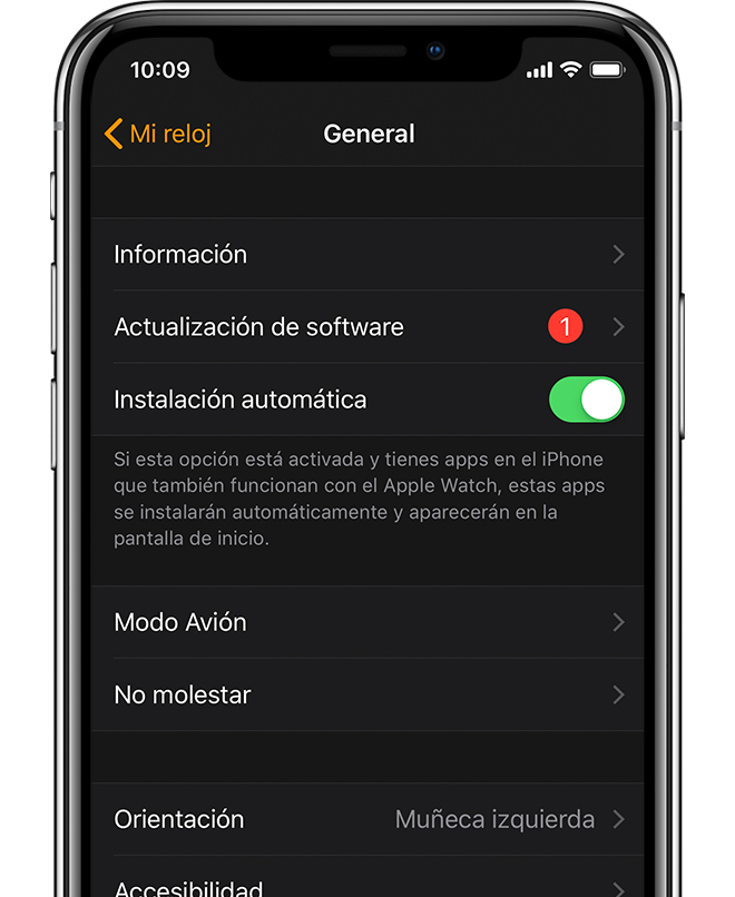 App Apple Watch en la que se muestra una actualización de software disponible.