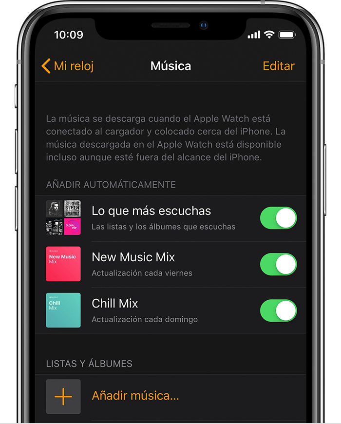 iPhone con la app Watch abierta