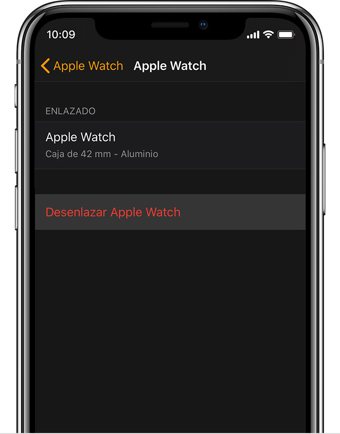 Pantalla de Apple Watch en el iPhone que muestra detalles sobre el Apple Watch de aluminio de John.