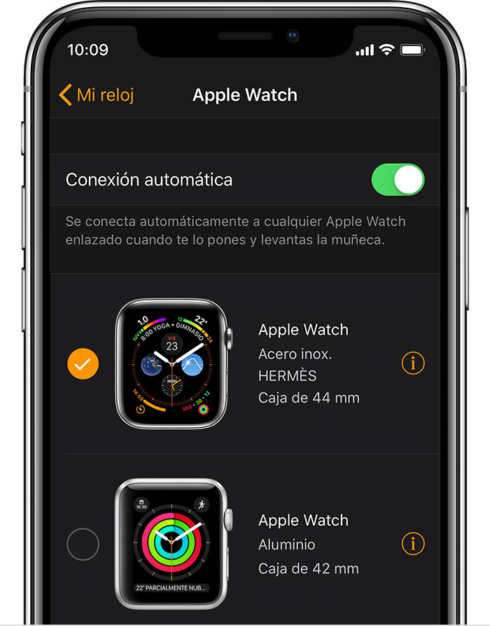 Apple Watch de aluminio de 42 mm de John en la app Reloj.