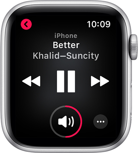 Apple Watch con la pantalla En reproducción abierta