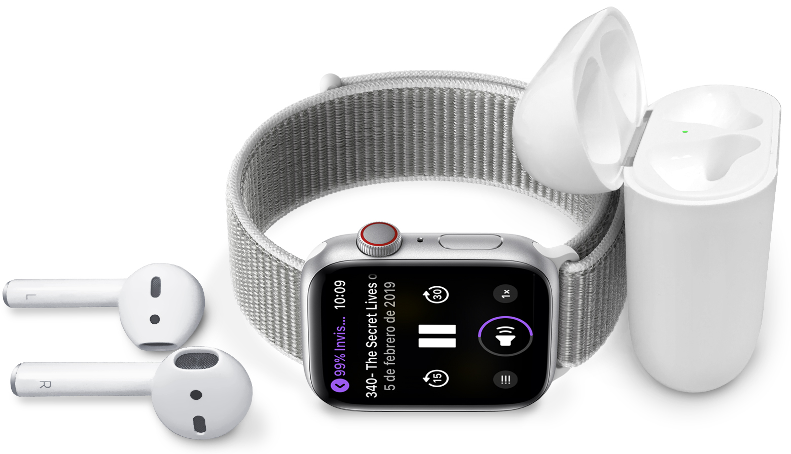 Apple Watch y AirPods reproduciendo la lista de reproducción My Work Jam