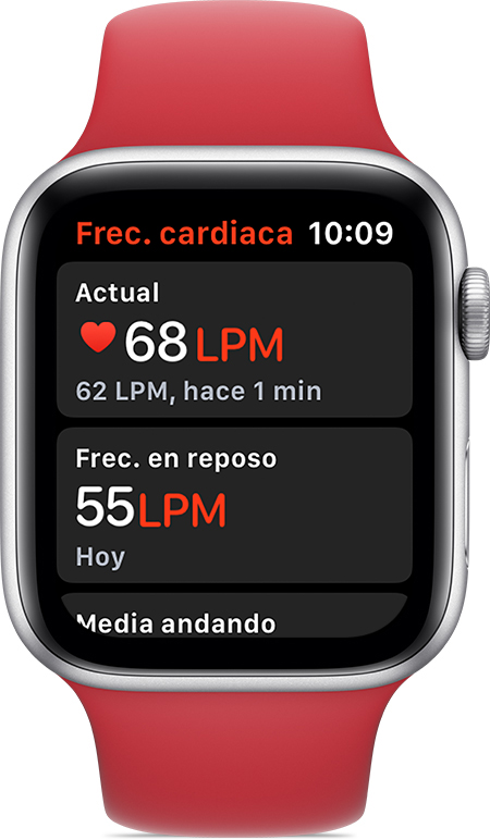 App Frecuencia cardiaca en la que se muestran una frecuencia actual de 68LPM y una frecuencia en reposo de 55LPM.