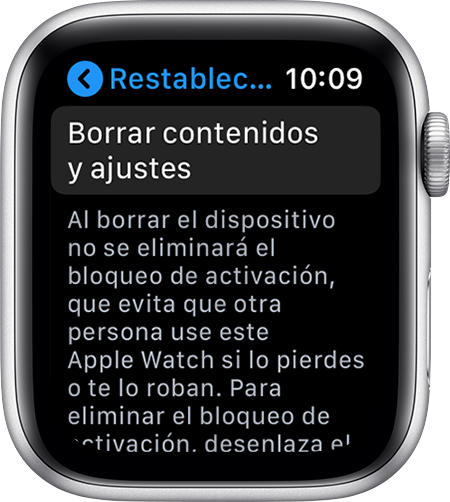Pantalla Restablecer en el Apple Watch.