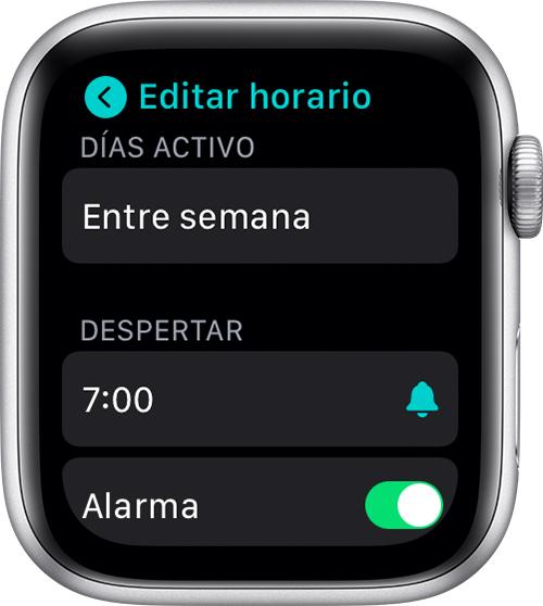 Editar el horario de sueño completo en el AppleWatch