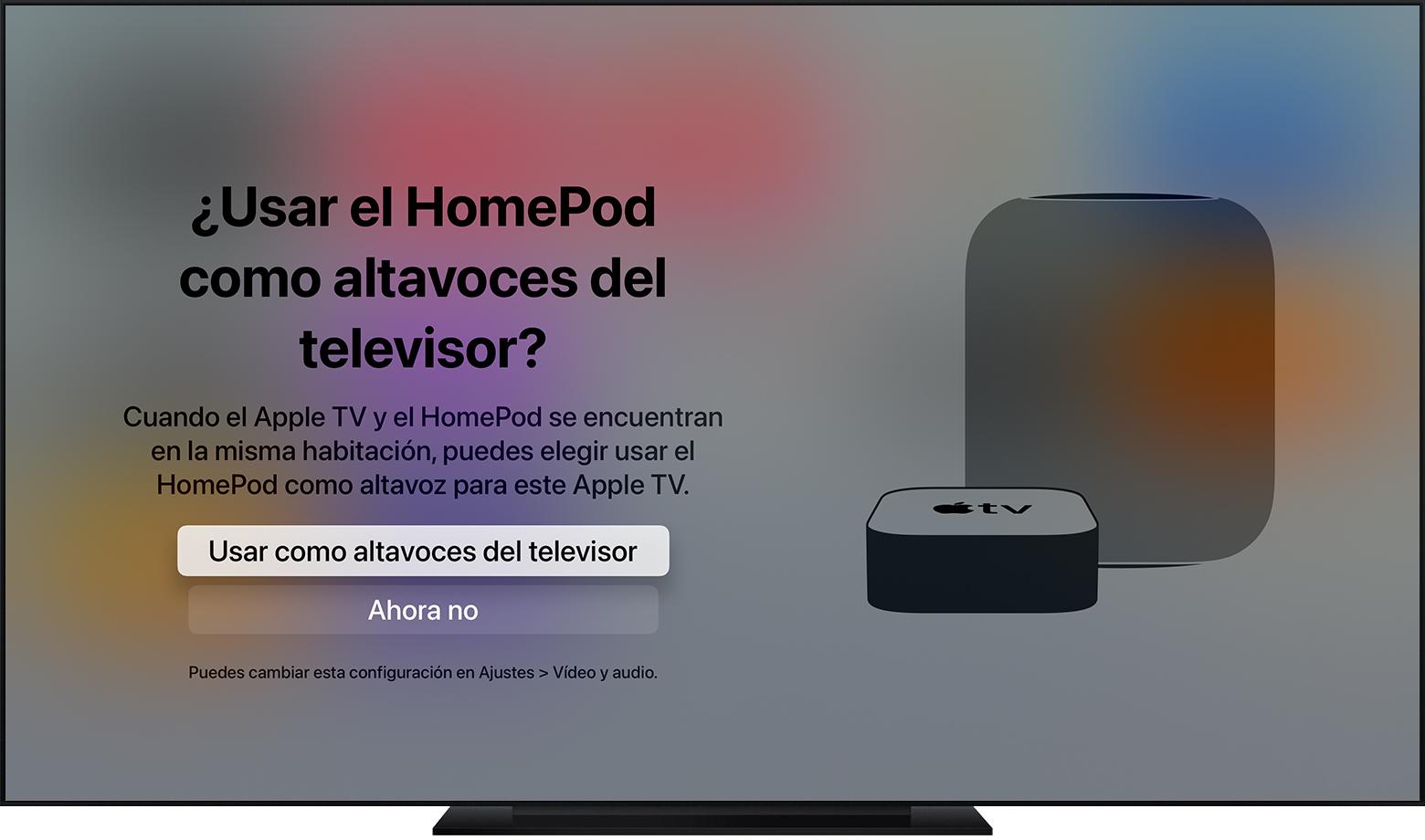 Captura de pantalla de tvOS que muestra el mensaje para usar HomePod como altavoz del televisor.