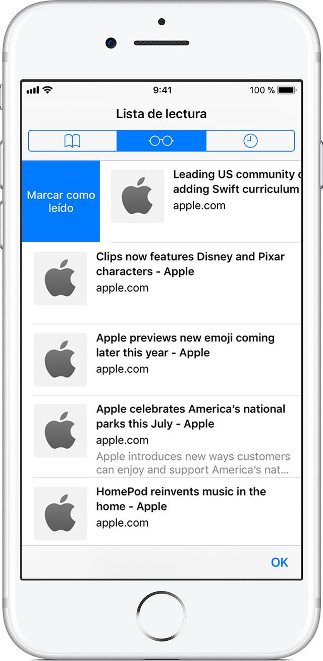Añadir páginas web a una lista de lectura - Soporte técnico de Apple