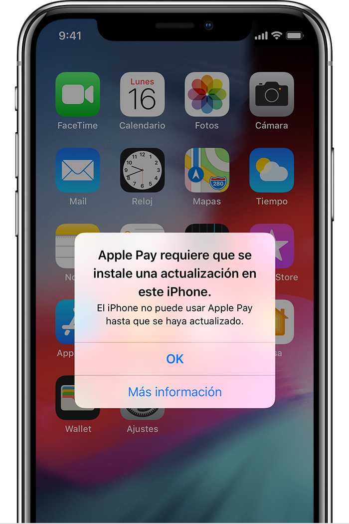 Apple Pay debe actualizarse