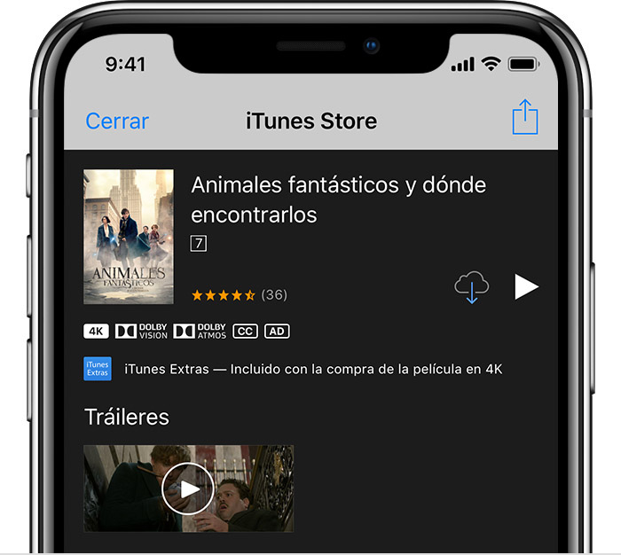 Un iPhone con la página de información de JusticeLeague abierta en el iTunesStore.