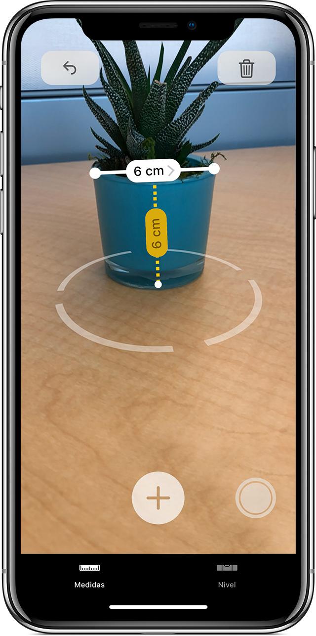 uso de la app Medidas para tomar varias mediciones de un objeto