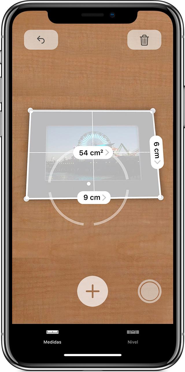 uso de la app Medidas para medir las dimensiones de un rectángulo