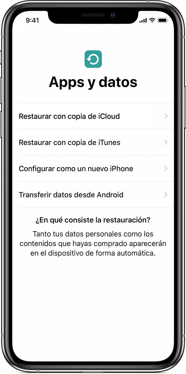 21a5fbabf4f ... datos del iPhone, pulsa Configurar como nuevo en lugar de Restaurar  copia de seguridad. Si ya has pulsado Restaurar copia de seguridad, pulsa  Atrás para ...