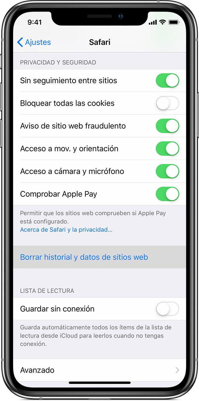70373c0b1828 Borrar el historial y las cookies de Safari en el iPhone