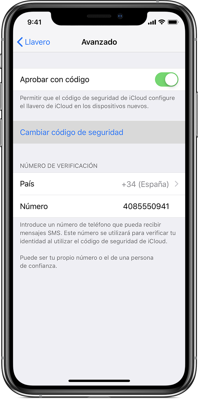 iPhone que muestra Approve with Security Code activado