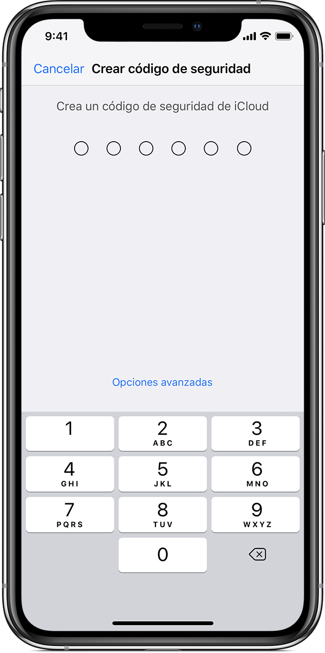 iPhone que muestra la pantalla Create Security Code