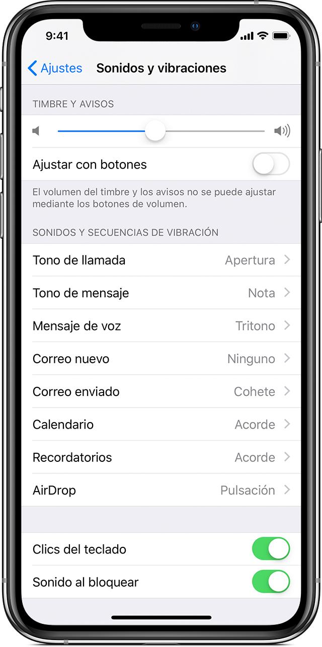 c5b73a3727a iPhone X con la pantalla de ajustes de Sonidos y vibraciones abierta.