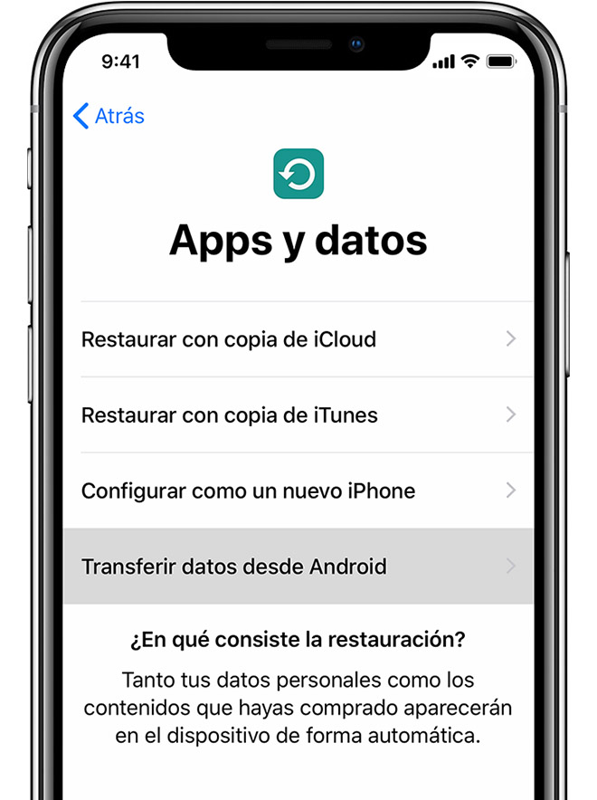 Pantalla Apps y datos en el iPhone
