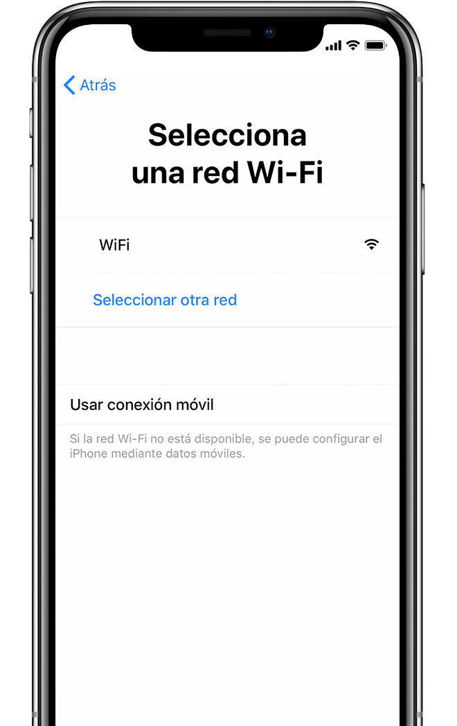 Pantalla Elige una red Wi-Fi en el iPhone