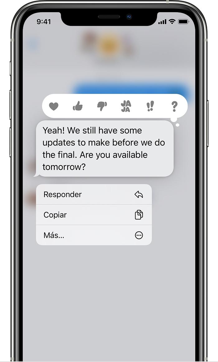iPhone que muestra el menú de respuesta en línea después de mantener pulsado un bocadillo de mensaje para enviar una respuesta en línea.