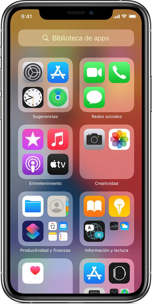 iPhone en el que se muestra la pantalla de la biblioteca de apps