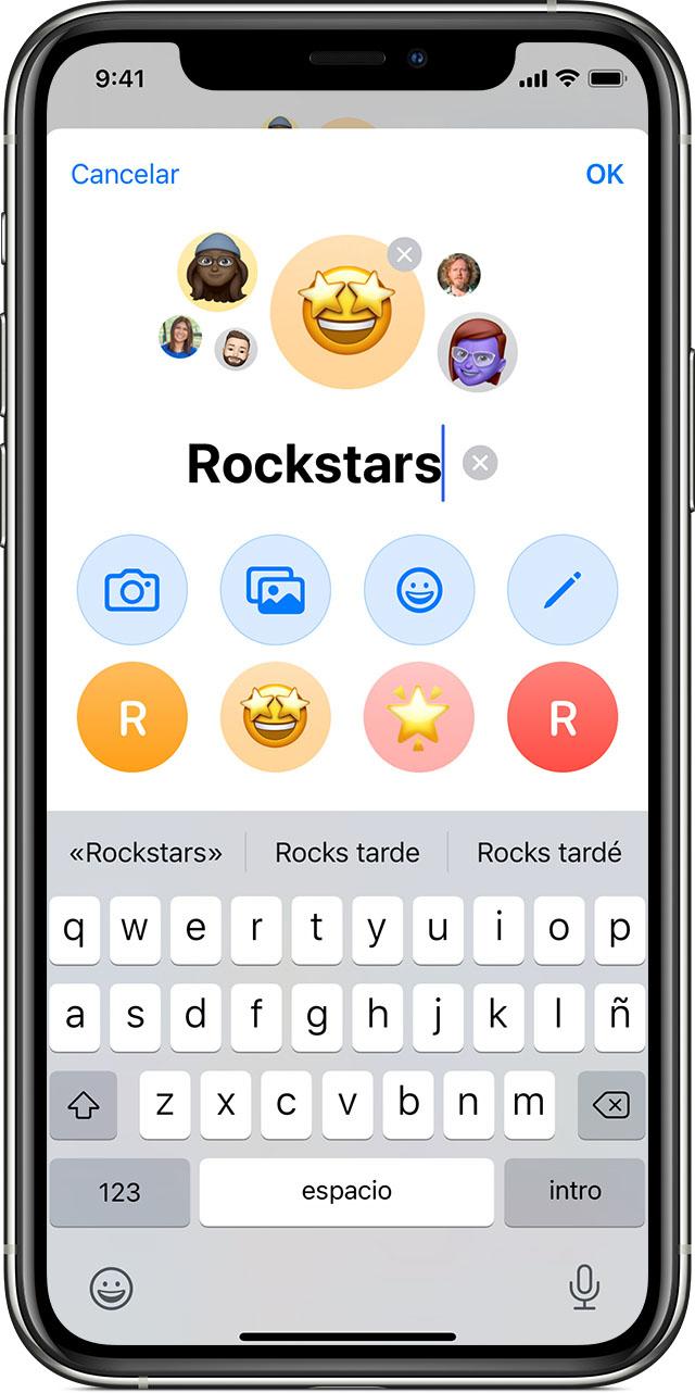 iPhone que muestra cómo poner nombre a mensajes de texto en grupo en la app Mensajes.