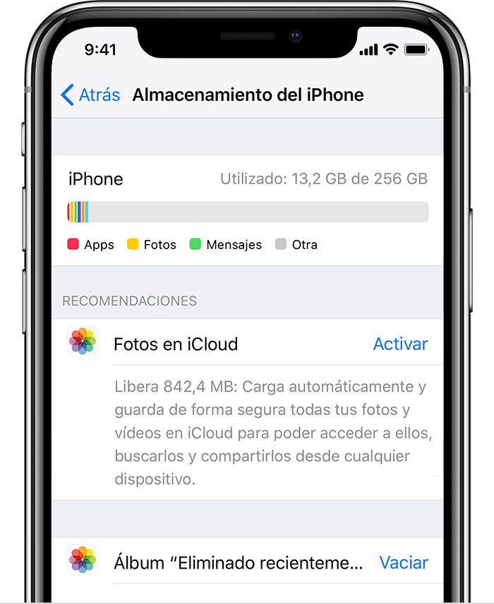 Almacenamiento en el iPhone