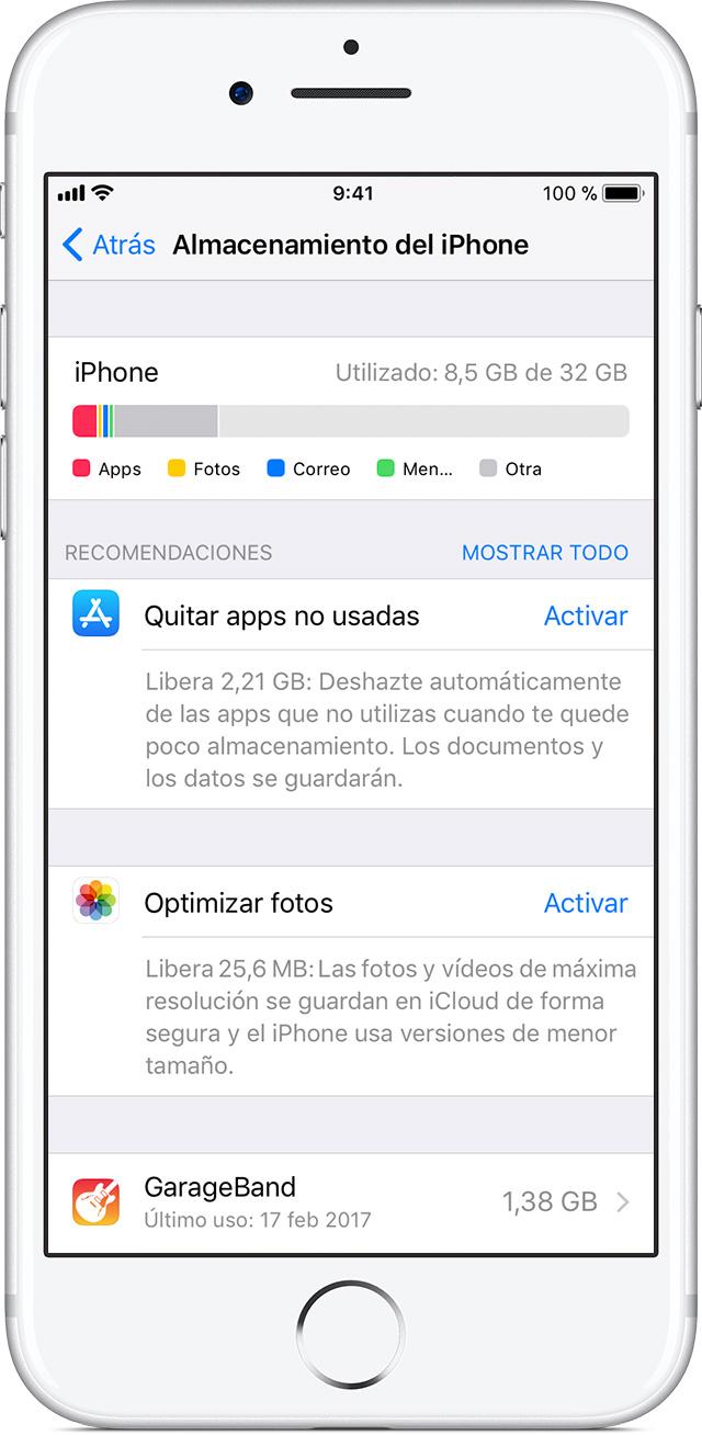 como reducir la compra de almacenamiento en iphone