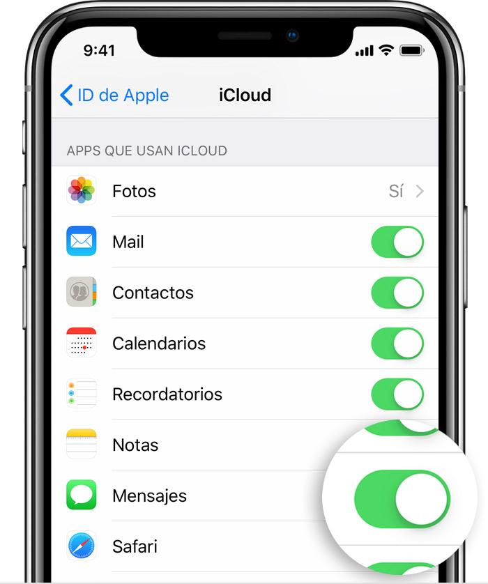 iPhone en el que se muestran las apps que usan iCloud
