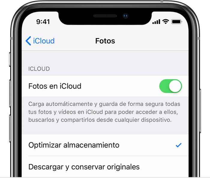 Un iPhone con Fotos de iCloud activada