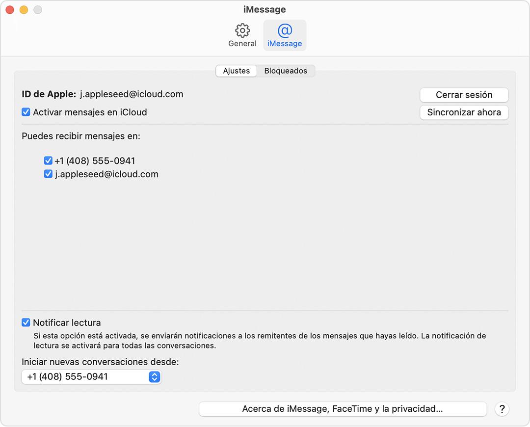 Pantalla de ajustes de iMessage en el Mac con la opción Activar Mensajes en iCloud seleccionada