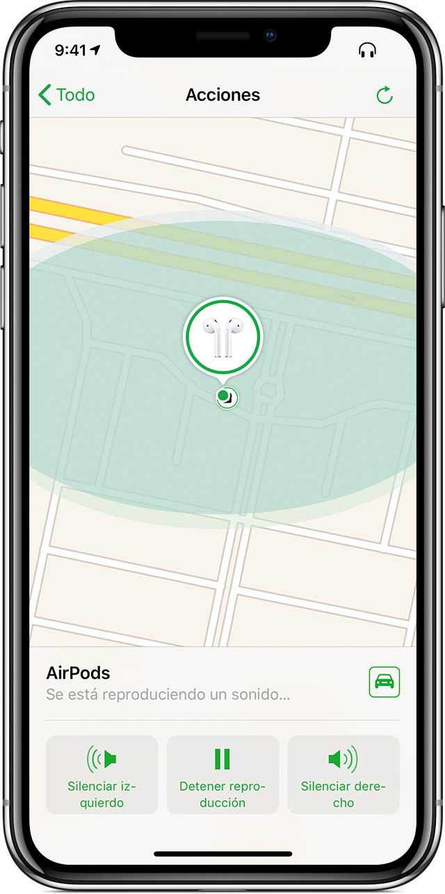 iPhone con la pantalla Acciones