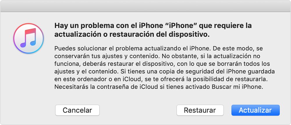 como restaurar y actualizar iphone 6s Plus