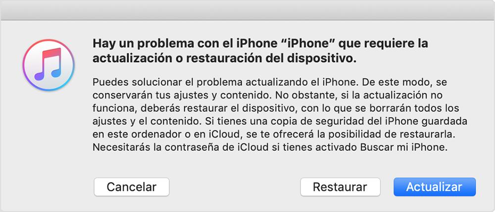 pantalla de iTunes