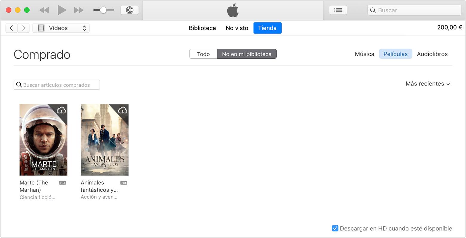 Un Mac que muestra la página Comprado, donde puedes ver las películas, las series o la música que has comprado.