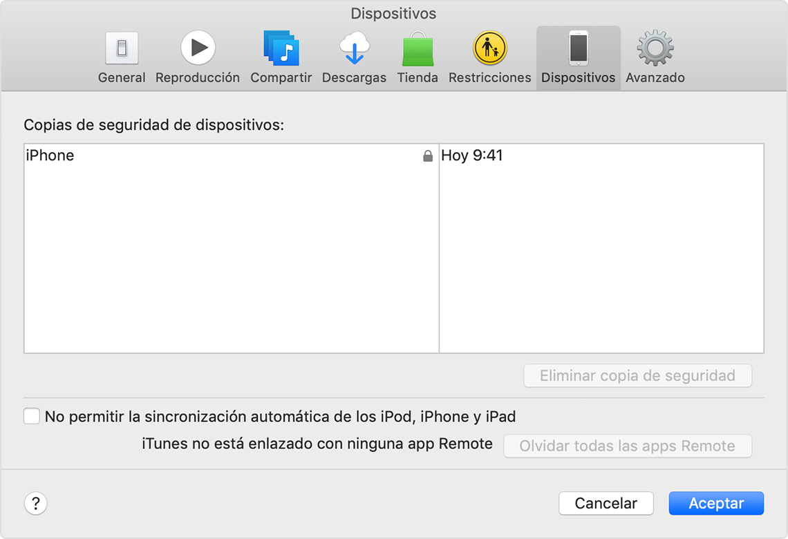 Preferencias de dispositivos que muestran una copia de seguridad del dispositivo con el nombre iPhone de John.