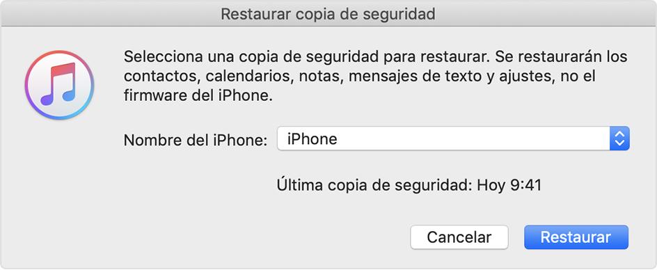 Restaurar copia de seguridad desde iCloud