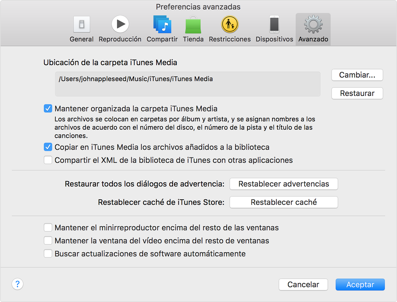Preferencias avanzadas de iTunes
